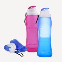 户外运动专营店直供硅胶折叠水瓶 ら液体无毒硅胶可折叠水壶 500ml