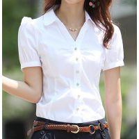 女士衬衫夏季女装短袖衬衣青年女打底衫衬衣短袖衬女工作装工服