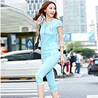 厂家直销2015韩版修身运动服套装短袖T恤两件套一件代发速卖通