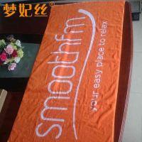 纯棉沙滩巾定制 橘黄色80*180cm 色织提花浴巾生产厂家梦妃丝