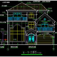 商住两用三层坡地美式别墅设计图27x14米