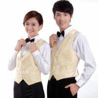 供应钲兴ZX-546定制餐饮V领男女同款修身短袖衬衫