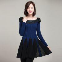 秋冬新品拼贴毛衣针织连体毛衣裙甜美中长款针织衫修身显瘦打底衫
