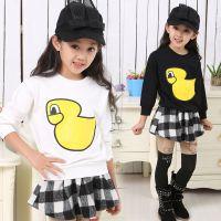 中大女童装2015春新款韩版潮童长袖T恤卡通鸭弹力打底衫T恤