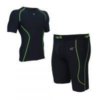 厂家直销男式紧身训练服 运动健身服套装 排汗速干运动短款套装