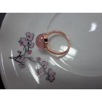 天然宝石 镀玫瑰金 纯银戒指 粉水晶戒指 芙蓉石戒指 925银戒指