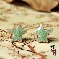 特价热卖 枫叶耳钉 手工陶瓷柳树叶子饰品 迷你小首饰批发.