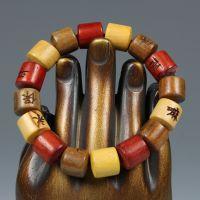 桶珠批发 三色檀木手链 三色桶珠手串 檀木佛珠男女款12mm