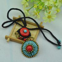 西米亚民族风手工铜珠蜡绳编制项链 绿松石饰品批发 混批