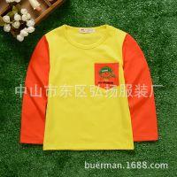 2015秋季新款童T恤 韩版儿童男童前胸袋长袖纯棉T恤打底衫 童装