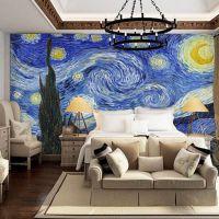 电视沙发画廊背景墻紙壁纸 天花板吊顶欧美油画梵高星空墻紙壁画