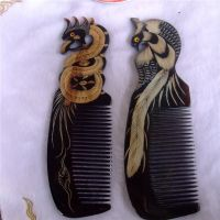 天然黑水牛牛角按摩梳羊角保健梳龙凤呈祥梳子纯手工正品批发