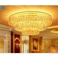 金色水晶灯客厅灯圆形黄色水晶吸顶灯现代简约创意大气聚宝盆灯具