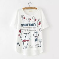 2015夏装新款韩版百搭时尚宽松显瘦短袖小猫看书图案T恤打底衫女