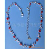 合金玫瑰花项链 韩式镶钻项链 时尚韩式饰品 服装配饰项链