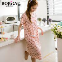 2015新款 卜奈日系新品女人睡裙 牛奶丝短袖碎花舒适女士睡衣睡裙