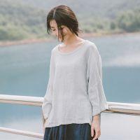 202-0079棉麻女装文艺复古风加大码蝙蝠七分袖原创夏季套头T恤衫