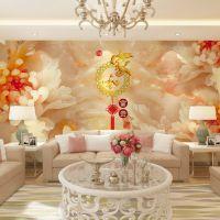 新品3d立体图墙纸壁纸 电视沙发背景 浮雕花卉 家和富贵墙布壁画