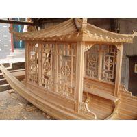 供应6米摇橹观光单亭船公园景区游玩木船