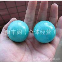 天然绿松石健身球手球一对手把件男女饰品批发