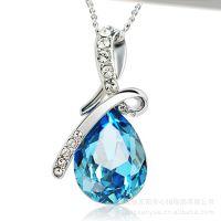 厂家直销韩版纯银S925镶嵌天然蓝宝石 吊坠 韩版项坠 来样加工