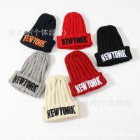 韩国官网同款儿童毛线帽批发 男女童宝宝NR刺绣字母手工毛线帽子