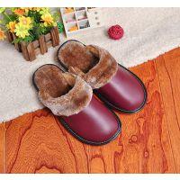 冬季皮棉拖鞋居家情侣保暖室内棉拖鞋牛筋底防水防滑真皮拖鞋男女