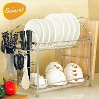 厨房置物架双层碗架沥水架碗碟架厨房用品用具厨房收纳刀架 SAKUR