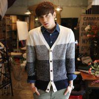 2015年新款春款男士针织衫开衫男式韩版毛衣渐变开衫外套
