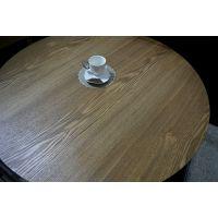 顺德西餐厅圆形实木圆桌 北欧乡村复古茶餐厅桌 咖啡厅会所圆形桌