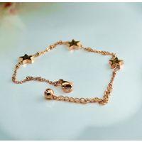 大牌玫瑰金 星星的你 光面钛钢五角星细手链女手环韩版配饰品