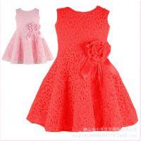 速卖通欧美外贸品质儿童裙装夏季新款女童蕾丝无袖连衣裙清仓批发
