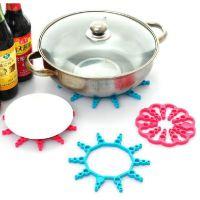 【创意】可伸缩碗垫隔热垫锅垫 糖果色厨房餐桌花形防烫垫两只90
