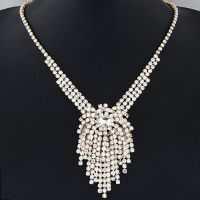 金属爪链饰品 大气奢华璀璨水钻流苏项链 婚纱饰品 3色可选