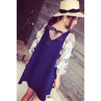小银子2015夏装新款减龄吸睛花朵灯笼袖A型显瘦连衣裙Q6102