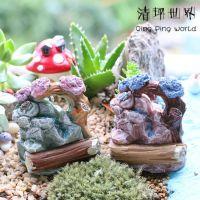 苔藓多肉微景观摆件(摆件-098木桩树带乌龟泉水假山)DIY玩具饰品