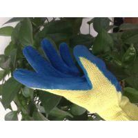耐磨防滑十针黄棉纱蓝胶乳胶起皱劳保防护手套耐用无异味企业福利