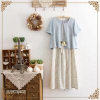2015夏装新款日系森女小清新碎花吊带裙两件套棉麻短袖连衣裙长裙