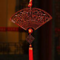 特色外事出国礼品中国结超大号高档挂件香樟木扇形工艺品红色中国
