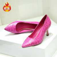 女单鞋外贸米兰时装周尖头细高跟鞋头层牛皮浅口女鞋批发一件代发