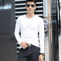 订货2015新款男士修身V领长袖t恤男式长袖打底衫纯白长袖t恤衫