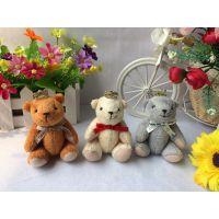 毛绒玩具泰迪关节熊挂件金皇冠小熊花束公仔结婚小礼物棕米黄灰色
