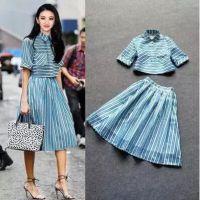 2015新款 景甜同款 蓝白条纹短款上衣+大摆中长半裙套装