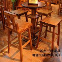 厂家定制碳化木酒吧咖啡厅圆桌火烧木复古实木酒吧台实木方桌子