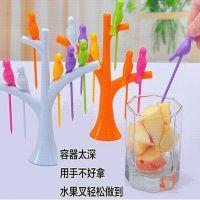 创意家居礼品用品树+小鸟水果叉/签/插 每套一个彩盒装 6色现货