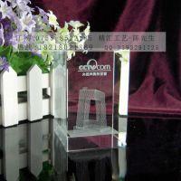 武汉水晶内雕纪念品定制,公司厂房大楼落成典礼赠送嘉宾礼品