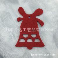 毛毡圣诞铃铛挂件 激光切割镂空红色毛毡节日挂饰