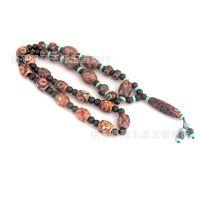 西藏密宗三眼天珠九眼天珠项链 搭配绿松石