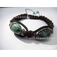 【昌威】手编天然宝石手链  绿松石编绳手链