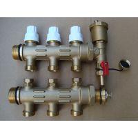 高档智能温控地暖分水器 黄铜双阀一体式分水器